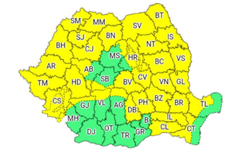 COD GALBEN, astăzi, în județul Botoșani și instabilitate atmosferică până vineri noapte!