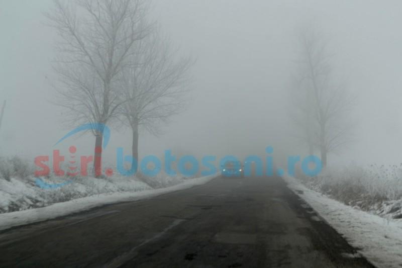 Cod galben de ceaţă şi de polei, prelungit de meteorologi pentru judeţul Botoşani!