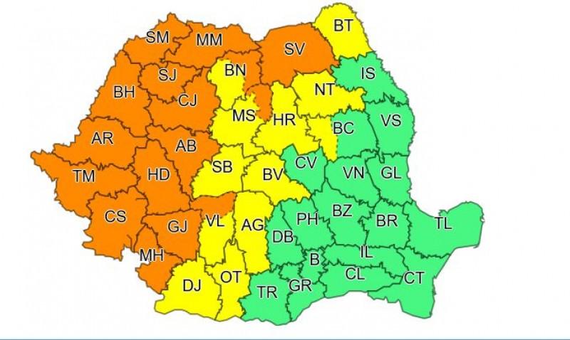 Cod galben de furtună în județul Botoșani
