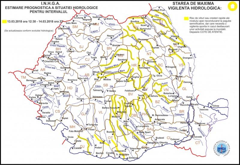 Cod galben de inundaţii emis de hidrologi pentru judeţul Botoşani