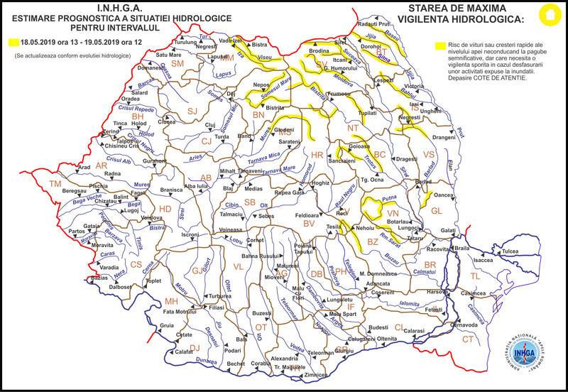 Cod galben de inundații pe râuri din Botoșani și alte 14 județe!