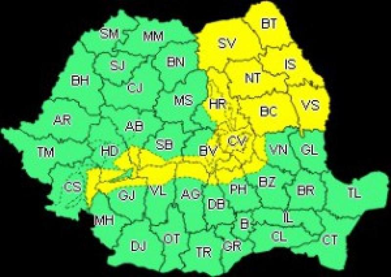 COD GALBEN de vreme rea pentru județul Botoșani, până joi seara!