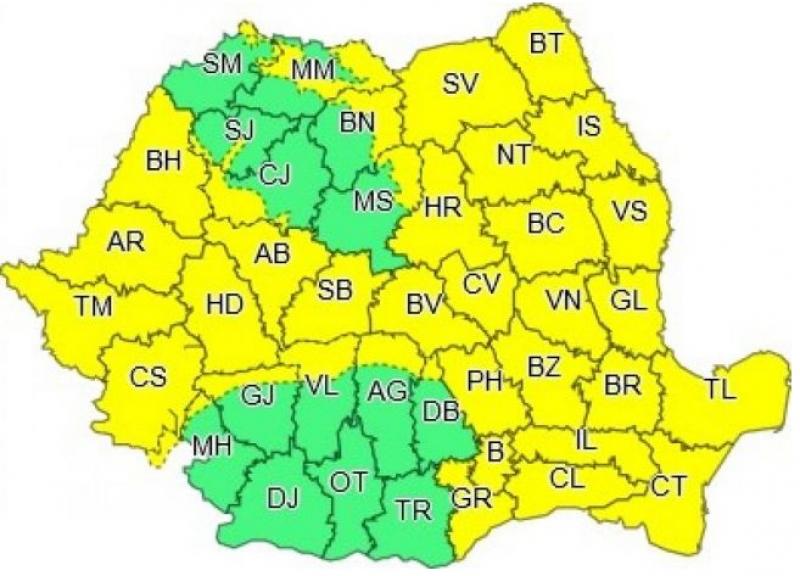 Cod galben pentru județul Botoșani: 26 de ore de vreme rea
