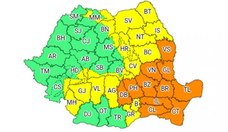 COD GALBEN - Ploi torențiale, vijelii și grindină la Botoșani!