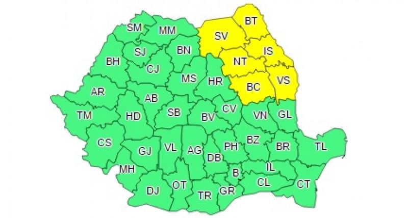 Cod Galben de ploi abundente în județul Botoșani! Vezi în ce interval!