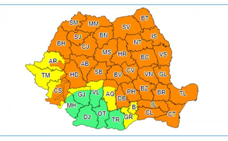 Cod Portocaliu de vreme rea la Botoșani de la orele amiezii până mâine dimineață