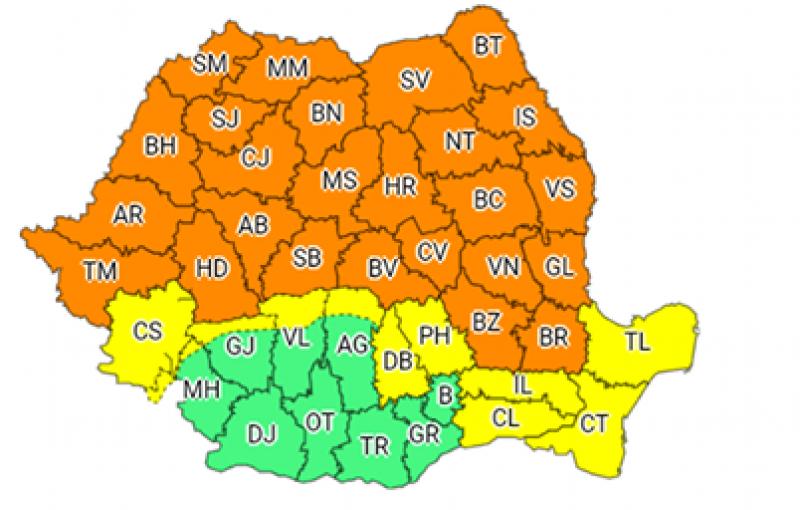 Cod Portocaliu în județul Botoșani: Vijelii, ploi torențiale, grindină!