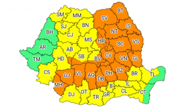 COD PORTOCALIU la Botoșani, până marți dimineață: Ploi abundente, vijelii și grindină!