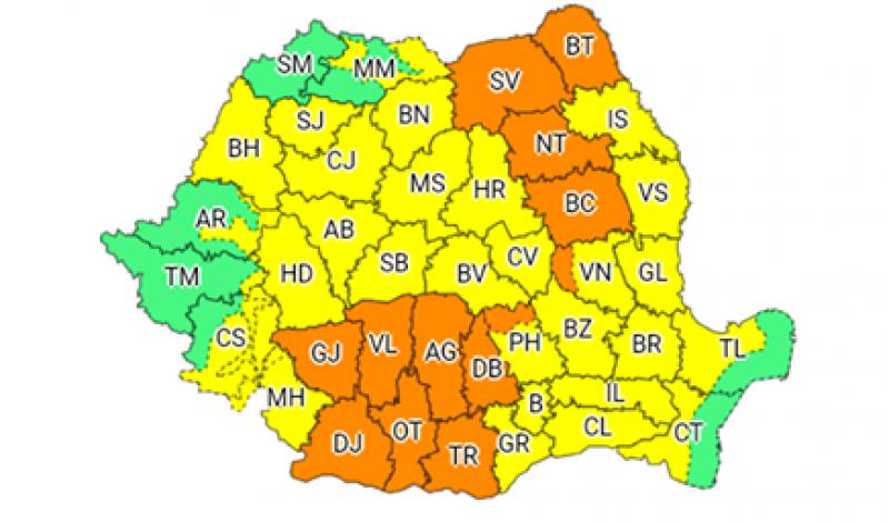 Cod Portocaliu urmat de Cod Galben în județul Botoșani, până marți dimineață!