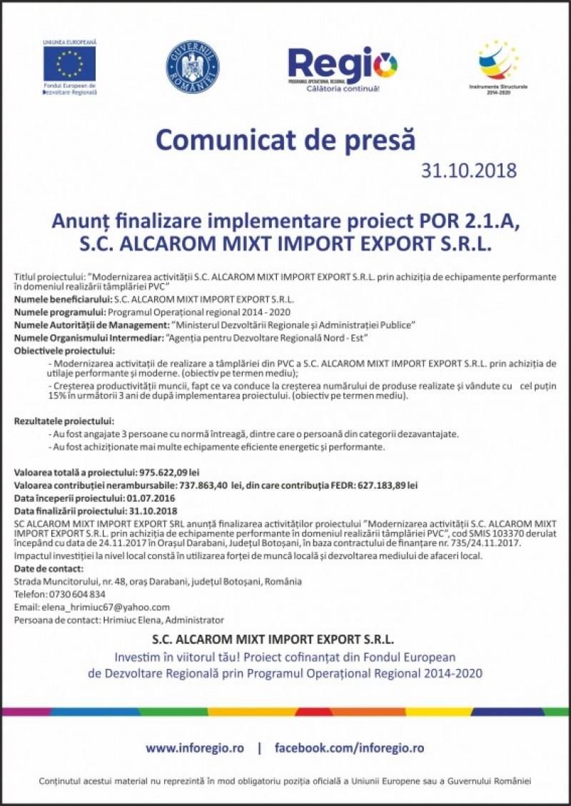 Comunicat de presa referitor la finalizarea proiectului ALCAROM MIXT IMPORT EXPORT