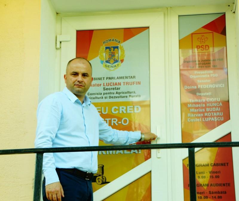 COMUNICAT Județul Botoșani are cabinet parlamentar în provincie deschis de senatorul PSD Lucian Trufin
