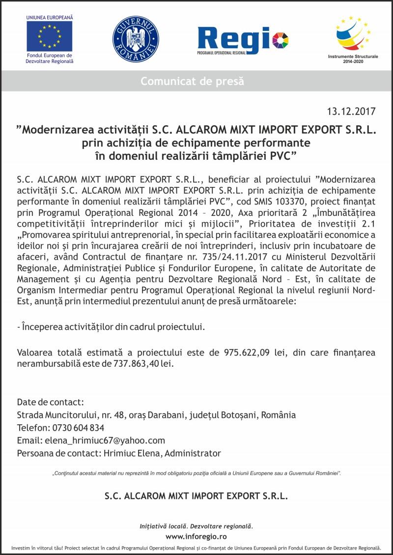 Comunicat proiect ALCAROM MIXT IMPORT EXPORT