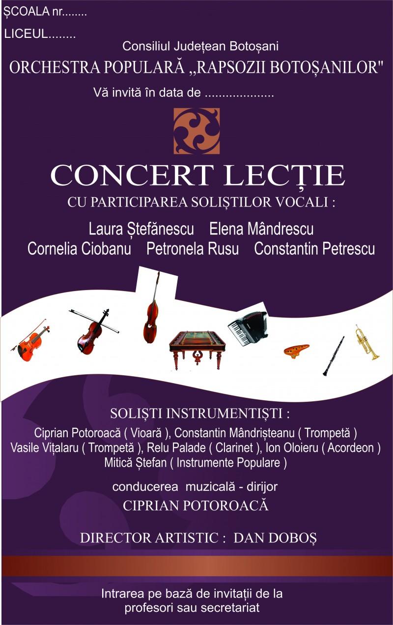 """Concerte-lecţie în şcoli, cu Orchestra """"Rapsozii Botoşanilor"""""""
