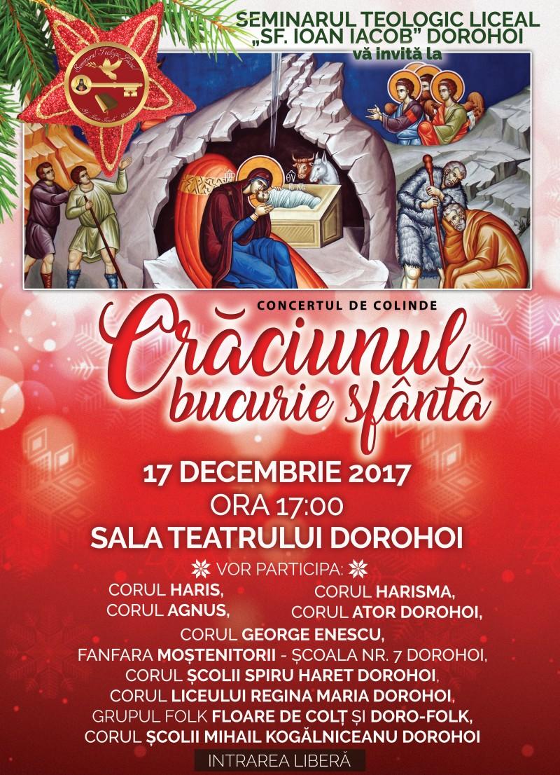 """Concertul de colinde """"Crăciunul - Bucurie sfântă"""", la Dorohoi!"""
