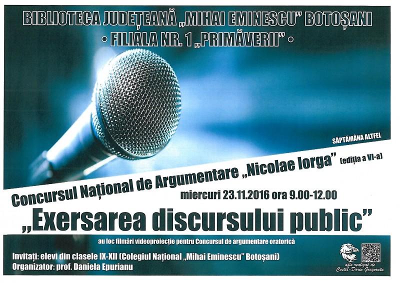 Concurs de discurs public la Biblioteca Judeţeană Botoşani