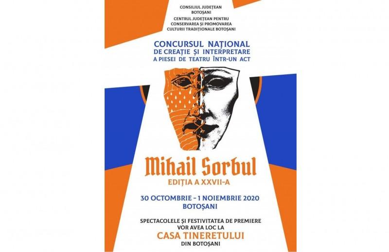 """Concursul Național de Creație și Interpretare a Piesei de Teatru într-un Act """"Mihail Sorbul"""" se va desfășura la finele lunii octombrie"""