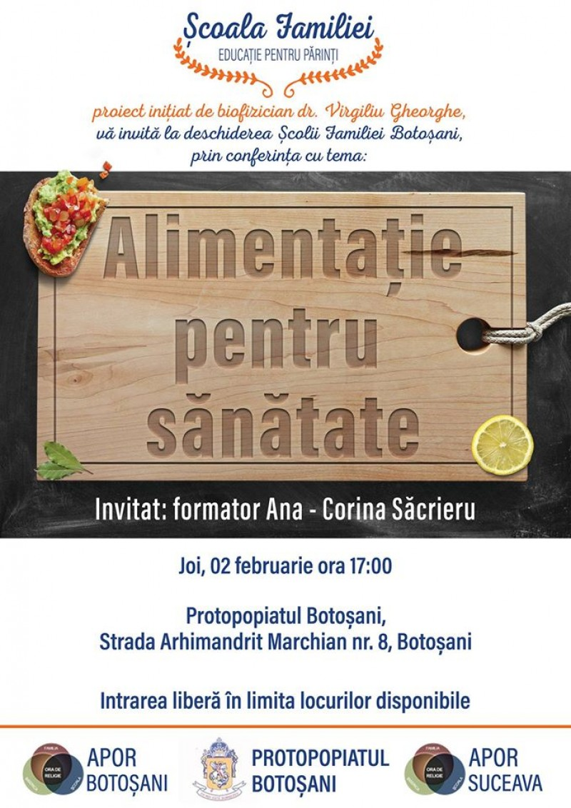 """Conferința """"Alimentație pentru sănătate"""", la Protopopiatul Botoșani!"""