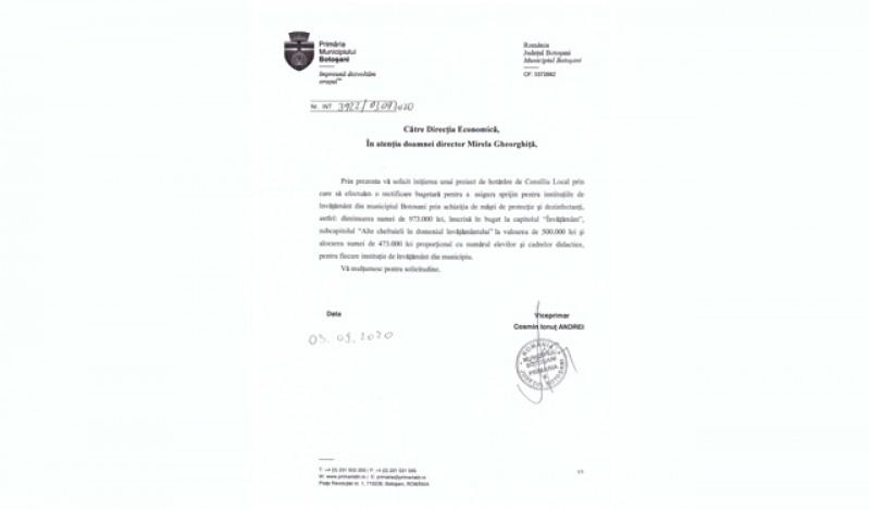 Cosmin Andrei: Am solicitat primarului Flutur rectificare bugetară pentru protecția sănătății copiilor și cadrelor didactice din Botoșani la început de an școlar (P)