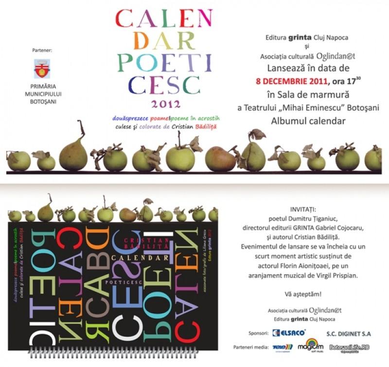 """Cristian Badilita lanseaza joi """"Calendar poeticesc"""" la Botosani"""