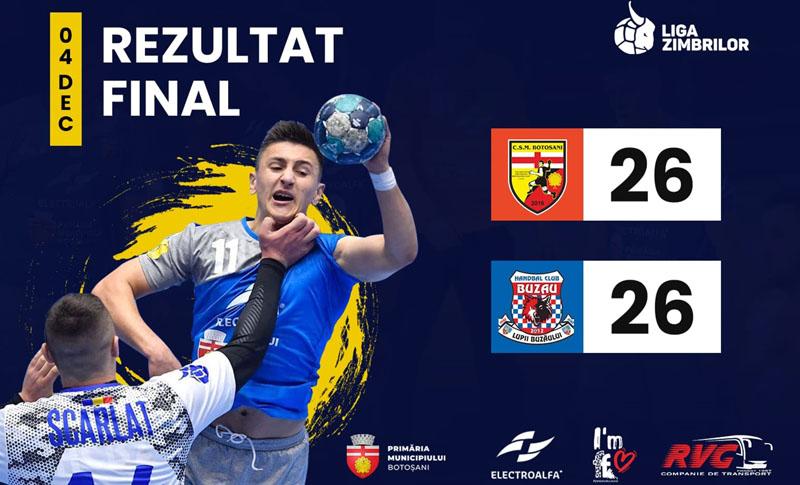 CSM Botoșani - CSM Buzău 26-26! Surpriză mare oferită de băieții lui Florin Ciubotariu!