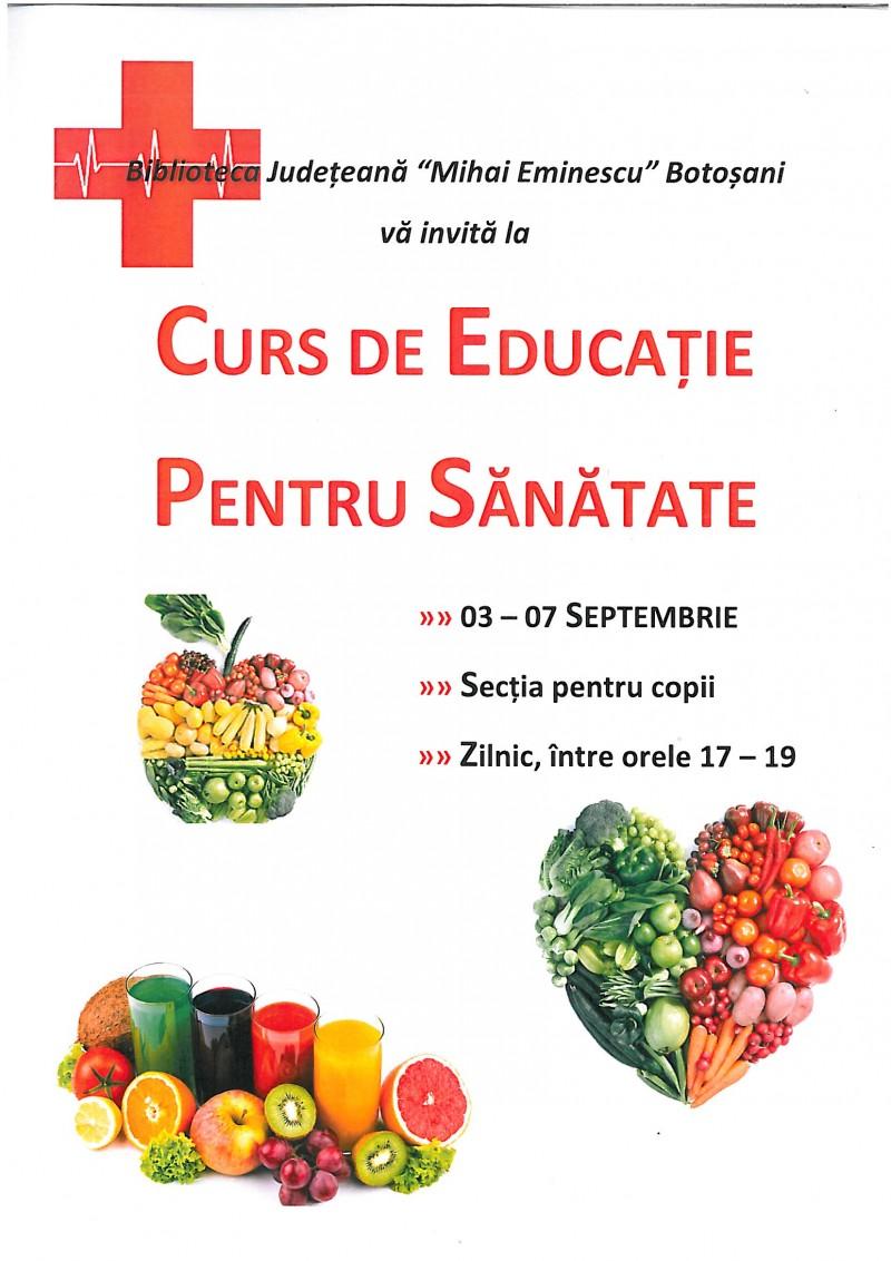 Curs de Educație pentru sănătate pentru adulți la Biblioteca Județeană