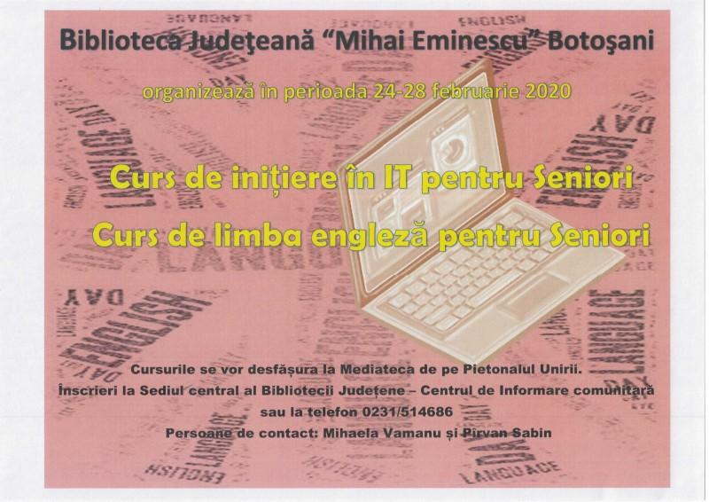 """Cursuri de IT și engleză pentru seniori, la Biblioteca Județeană """"Mihai Eminescu"""""""