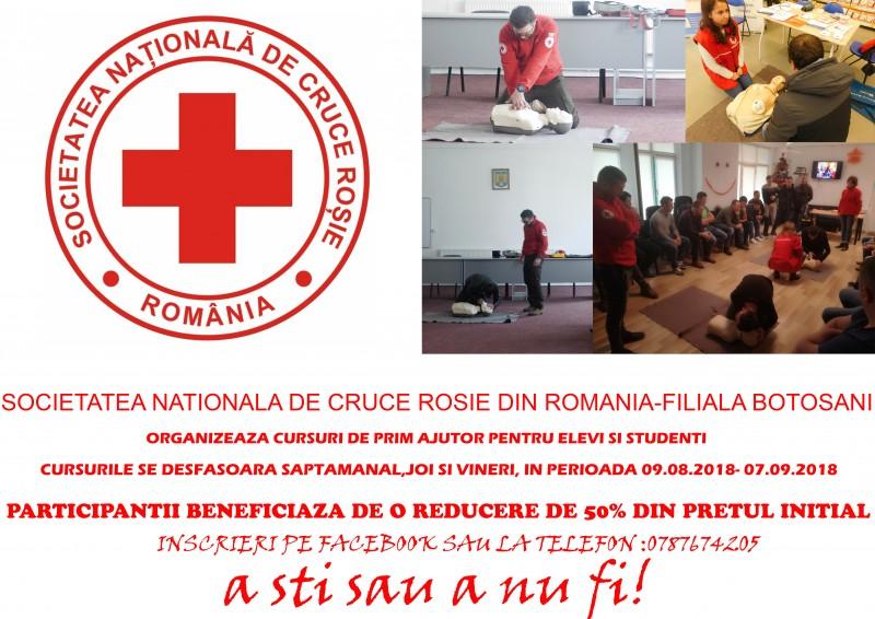 Cursuri de prim ajutor pentru elevi și studenți, organizate de Crucea Roșie Botoșani! FOTO