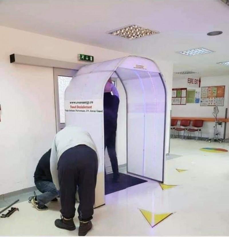 De luni, UPU și Maternitatea vor avea tuneluri de decontaminare, donate de către un antreprenor botoșănean