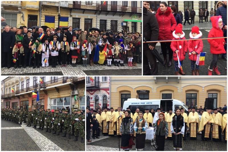 1 Decembrie, la Botoşani: Sute de botoşăneni cu steaguri în mâini, costume populare şi o surpriză emoţionantă! FOTO