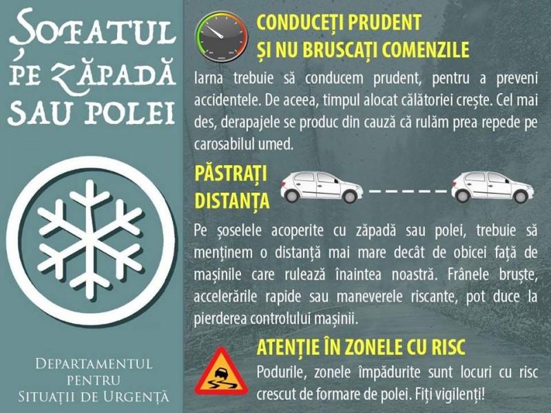 Departamentul pentru Situaţii de Urgenţă: Recomandăm evitarea pornirii la drum pe timp de viscol şi ninsoare puternică!