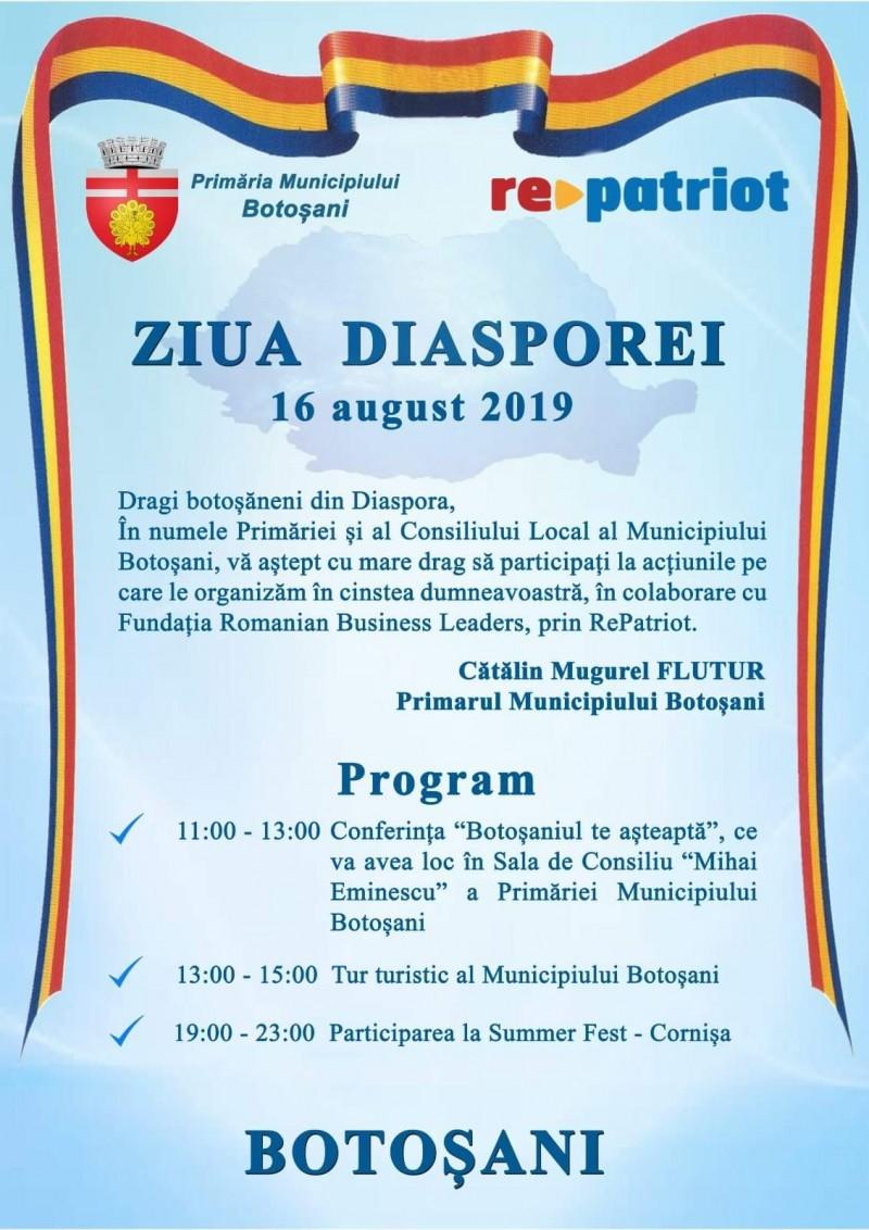 Diaspora botoșăneană, așteptată la un eveniment dedicat acesteia, în august