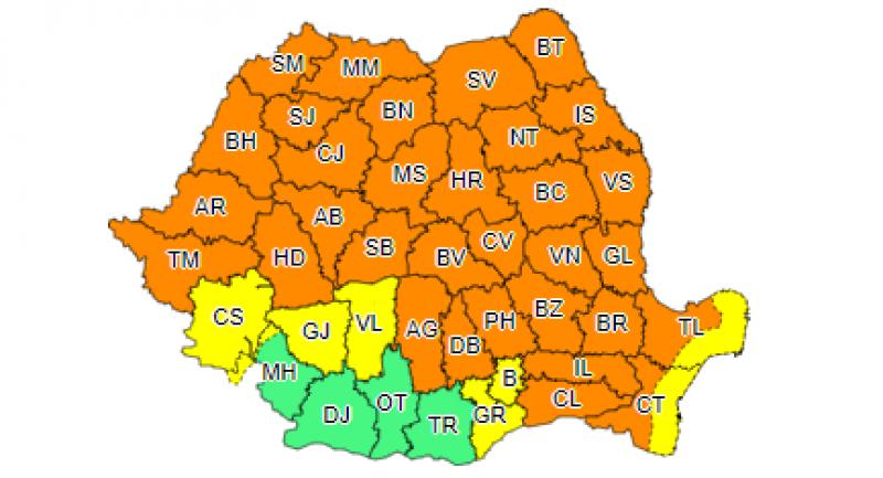 Două noi avertizări pentru județul Botoșani. Cod portocaliu de vreme rea până mâine