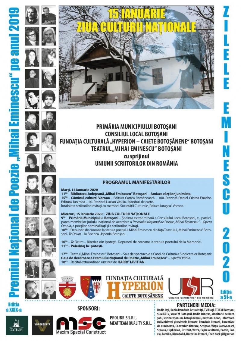 Două zile de celebrare a culturii botoșănene, sub auspiciile omagierii lui Eminescu