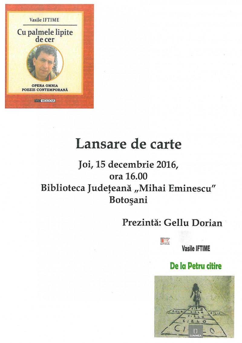 Dublă lansare de carte, joi, la Biblioteca Judeţeană Botoşani