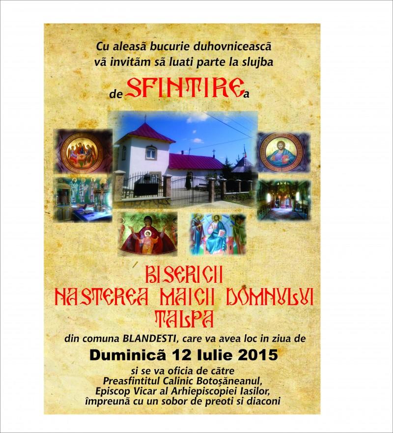 DUMINICA: PS Calinic Botoşăneanul va sfinţi Biserica din Parohia Talpa, comuna Blândeşti!!