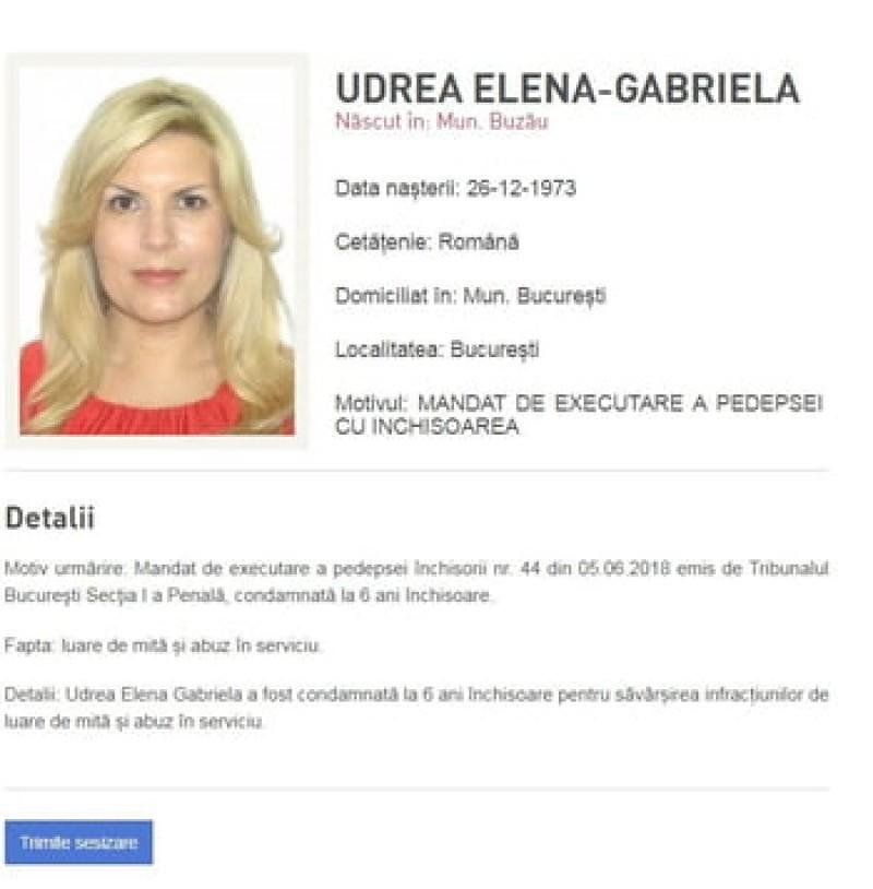 E OFICIAL: Elena Udrea, dată în urmărire internațională!
