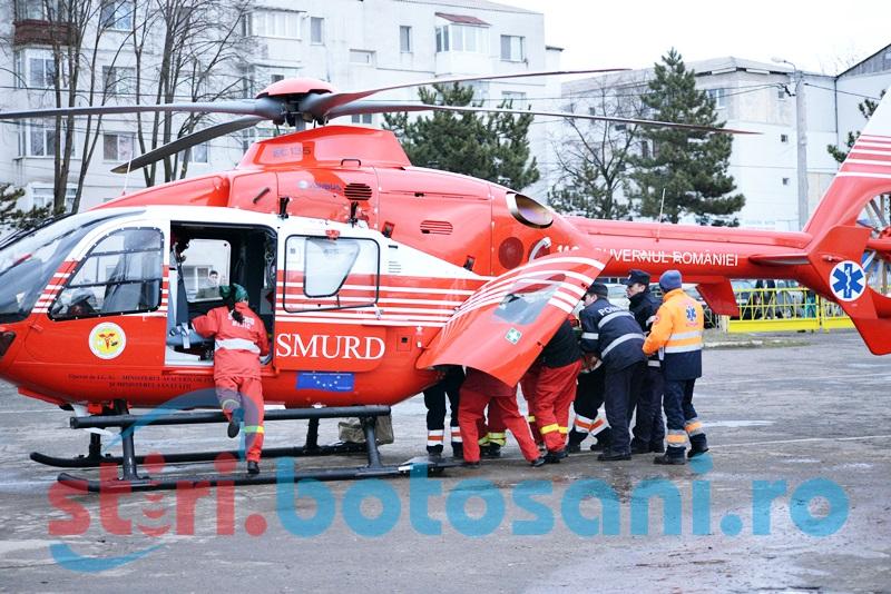 Botoșăneancă preluată de elicopterul SMURD! A suferit arsuri în timp ce aprindea focul!