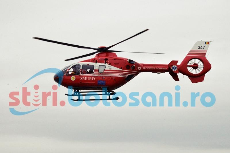 Elicopter SMURD chemat la Botoșani pentru a prelua o pacientă cu infarct miocardic!