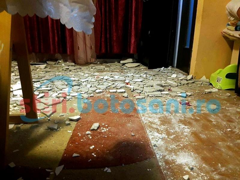 Este inexplicabil ce s-a întâmplat în locuința ANL unde a căzut tencuiala de pe tavan!