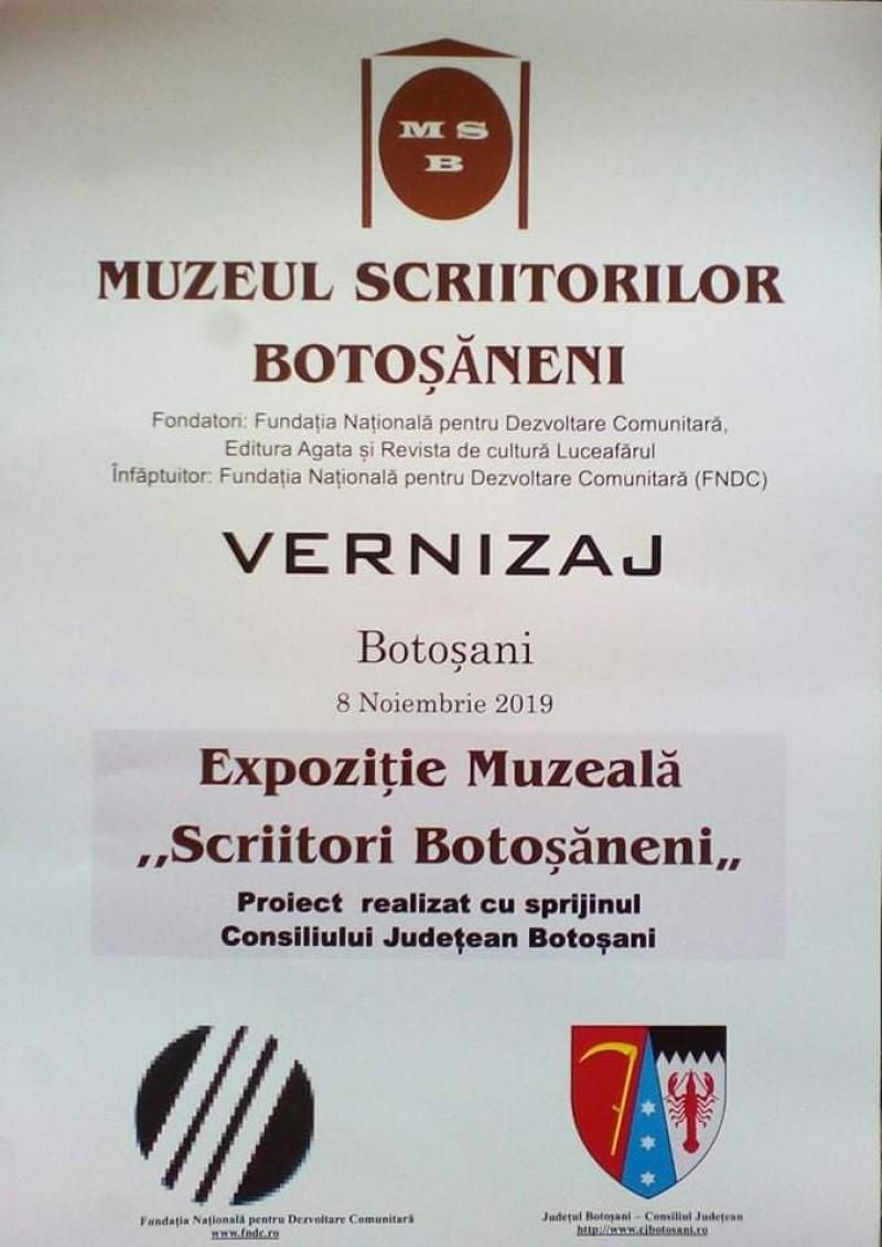 Eveniment dedicat istoriei scrisului la Botoșani, găzduit de Muzeul Scriitorilor din municipiu
