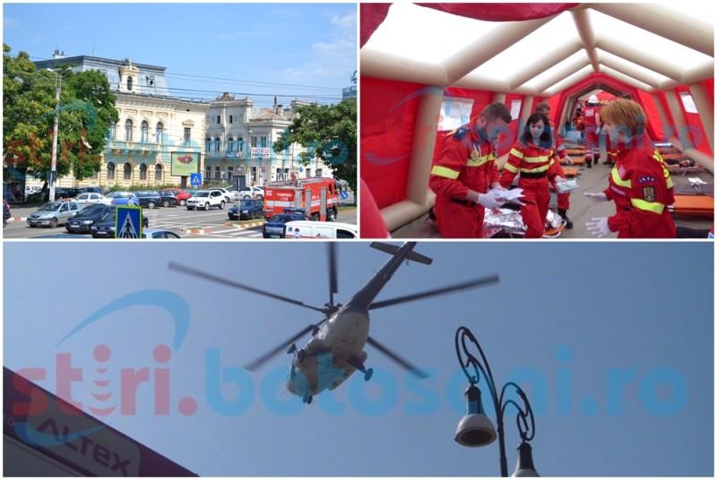 """Exerciţiu de """"Cod Roşu"""": 30 de victime salvate în urma unui cutremur şi a consecinţelor ulterioare în Centrul Vechi al municipiului Botoşani FOTO- VIDEO"""