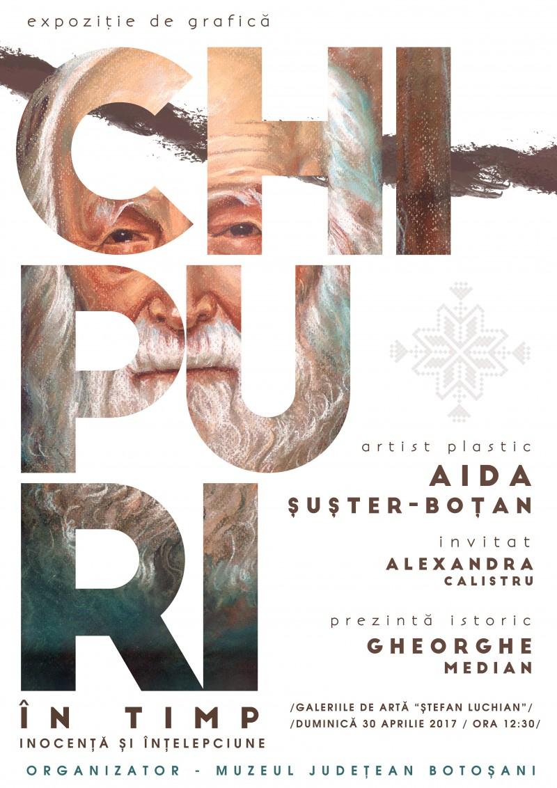"""Expoziţia personală de grafică """"Chipuri în timp – Inocența și înțelepciune"""" - Aida Șușter Boțan"""