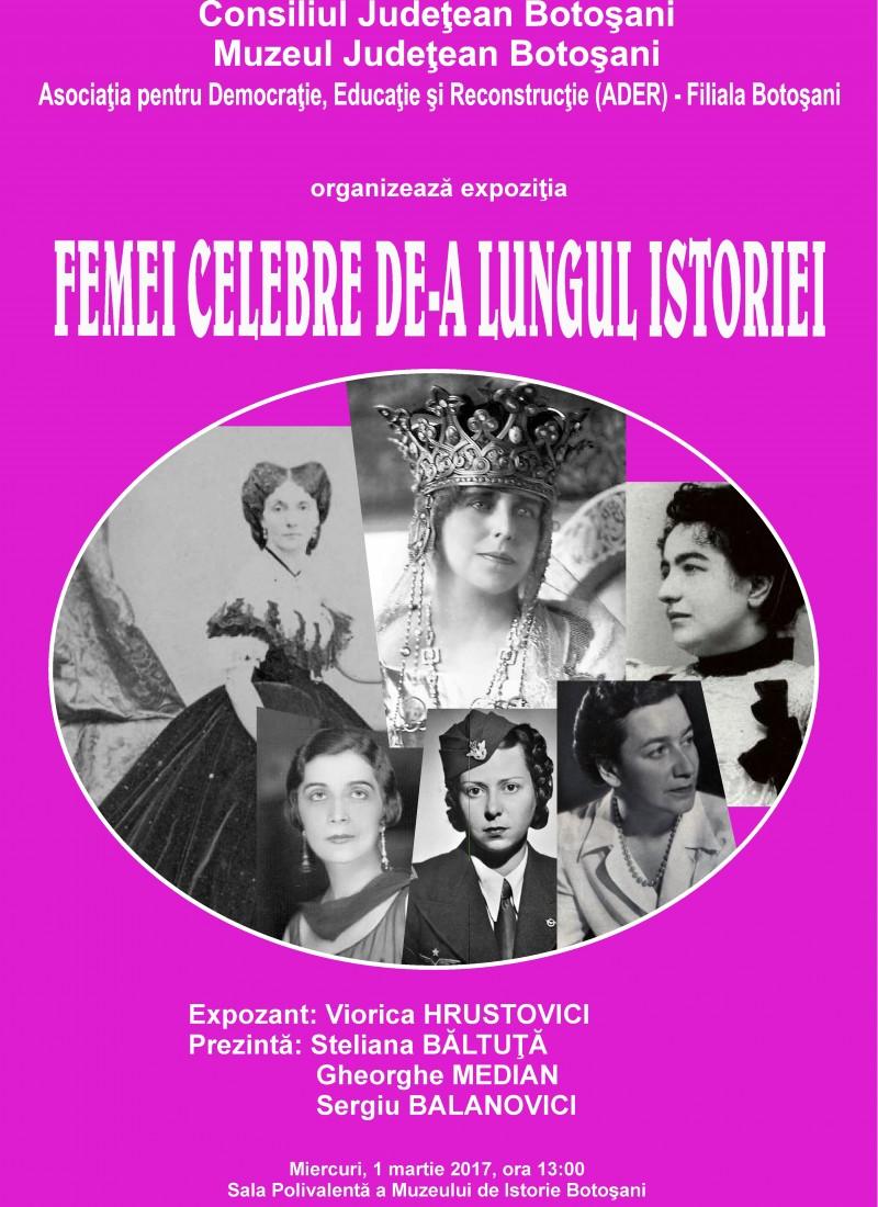 """Expoziţia """"Femei celebre de-a lungul istoriei"""", la Muzeul de Istorie Botoșani!"""