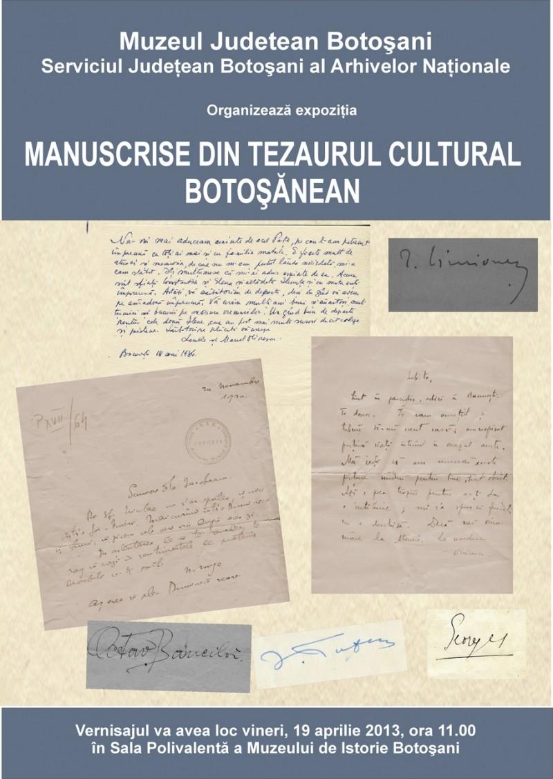 """Expoziția """"Manuscrise din tezaurul cultural botoşănean"""", la Muzeul Județean Botoșani"""