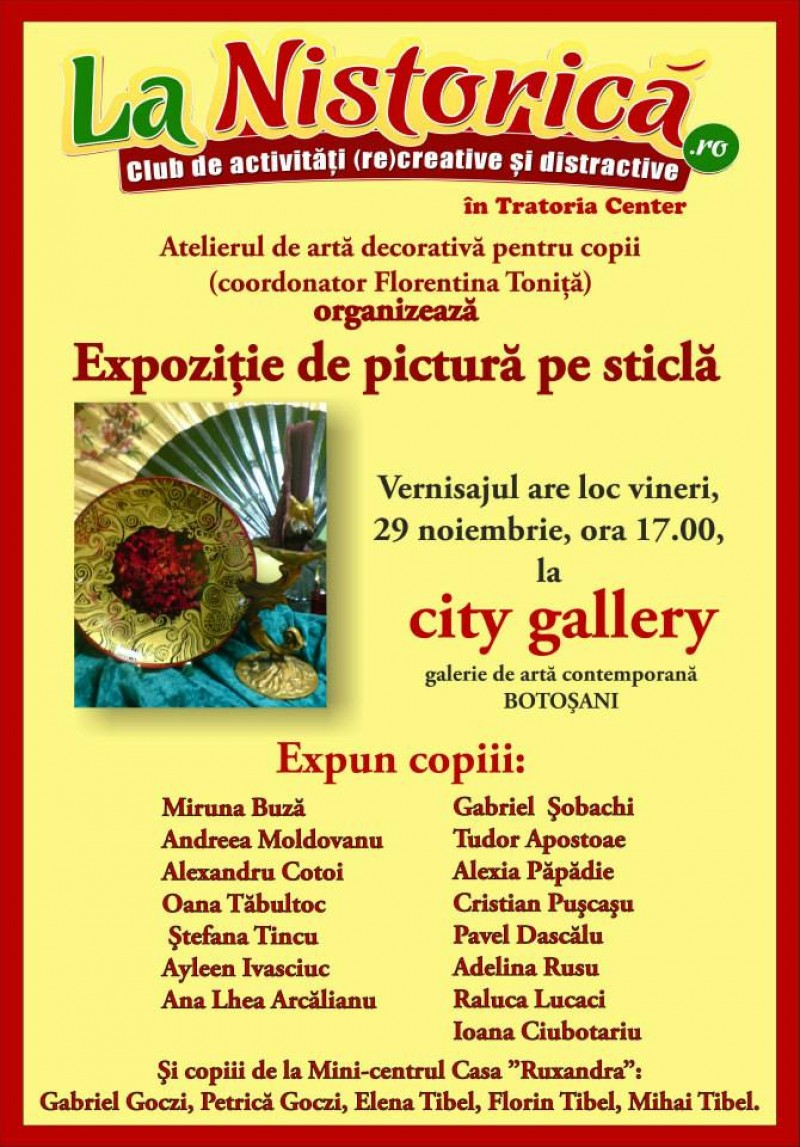 Expoziție de pictură pe sticlă la City Gallery