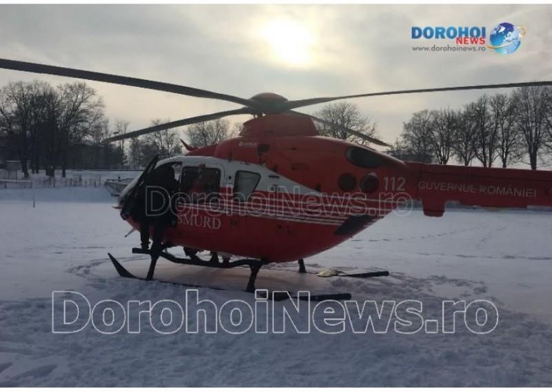 Femeie în comă, preluată de un elicopter SMURD de la Dorohoi