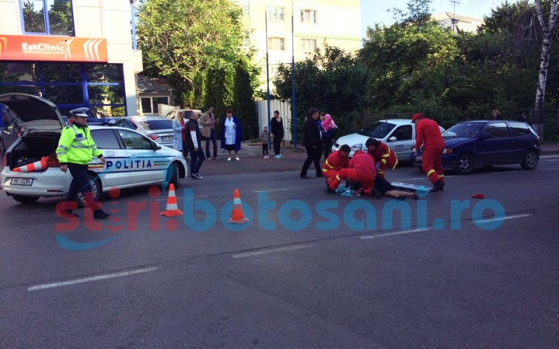 Femeie lovita in plin de un autoturism, in timp ce traversa strada! FOTO