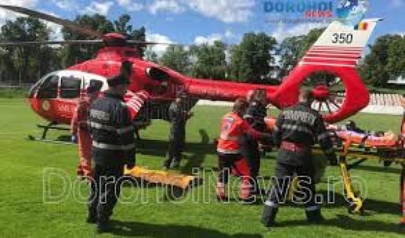 Femeie preluată de urgență de elicopterul SMURD de la Dorohoi după ce a suferit un infarct