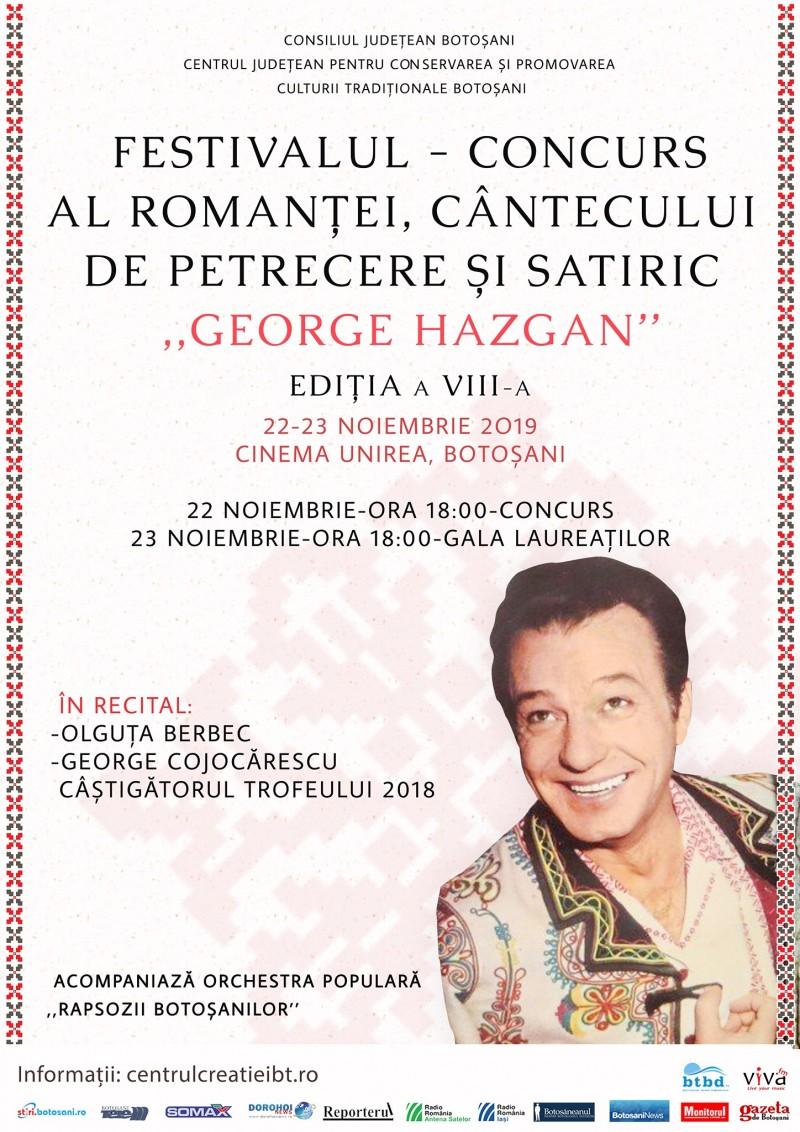 """Festivalul-concurs al romanţei, cântecului de petrecere şi satiric """"George Hazgan"""" a ajuns la a opta ediție"""