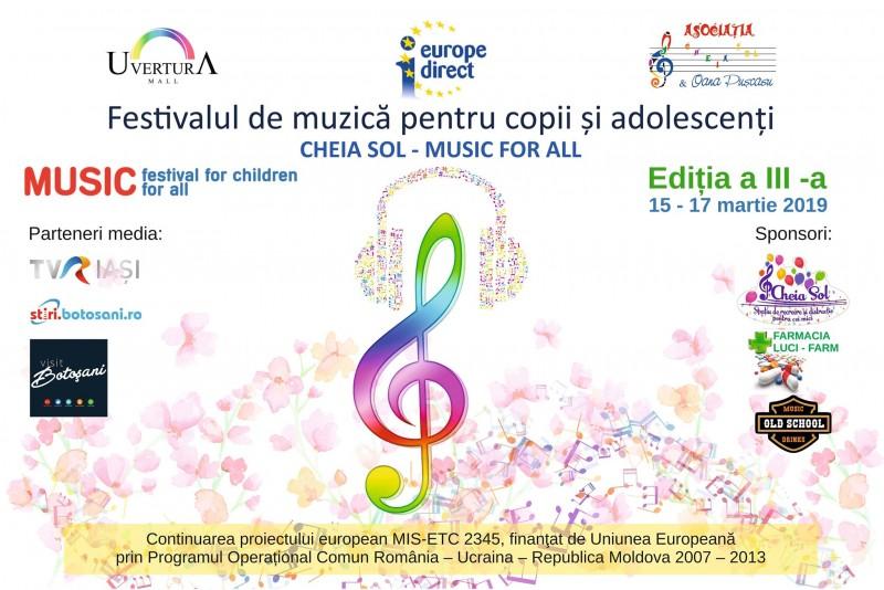 Festivalul de Muzică pentru copii și adolescenți CHEIA SOL- MUSIC FOR ALL, la a III-a ediție!